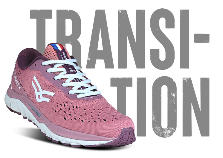 Chaussure running made in france femme transition MIF 1 bordeaux-rose
