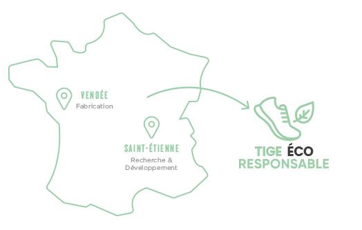 Carte de la production des chaussures VEETS en France