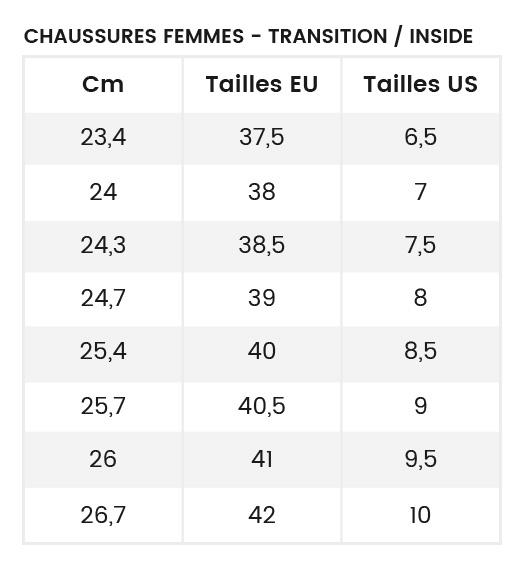 Guide des tailles chaussures femme Transition et Inside
